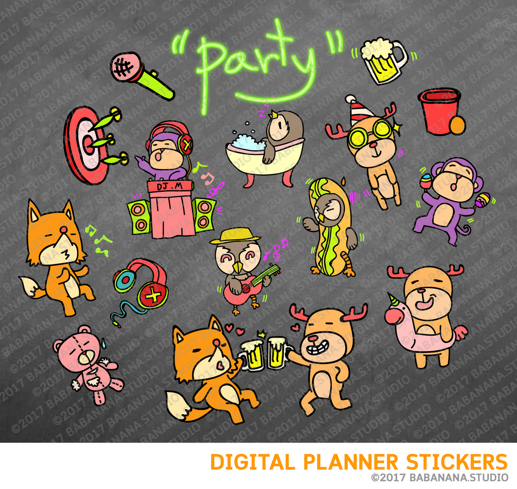 Party Cute Animals Digital Planner Stickers for iPad Planners Goodnotes