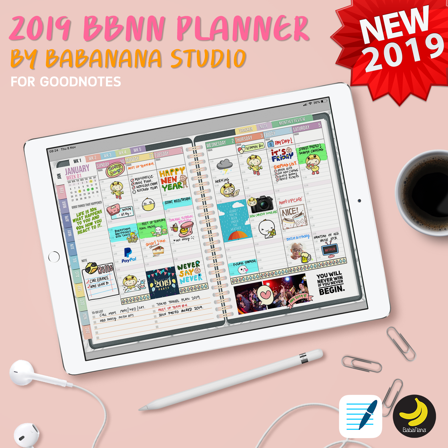 2019 babanana digital planner for goodnotes