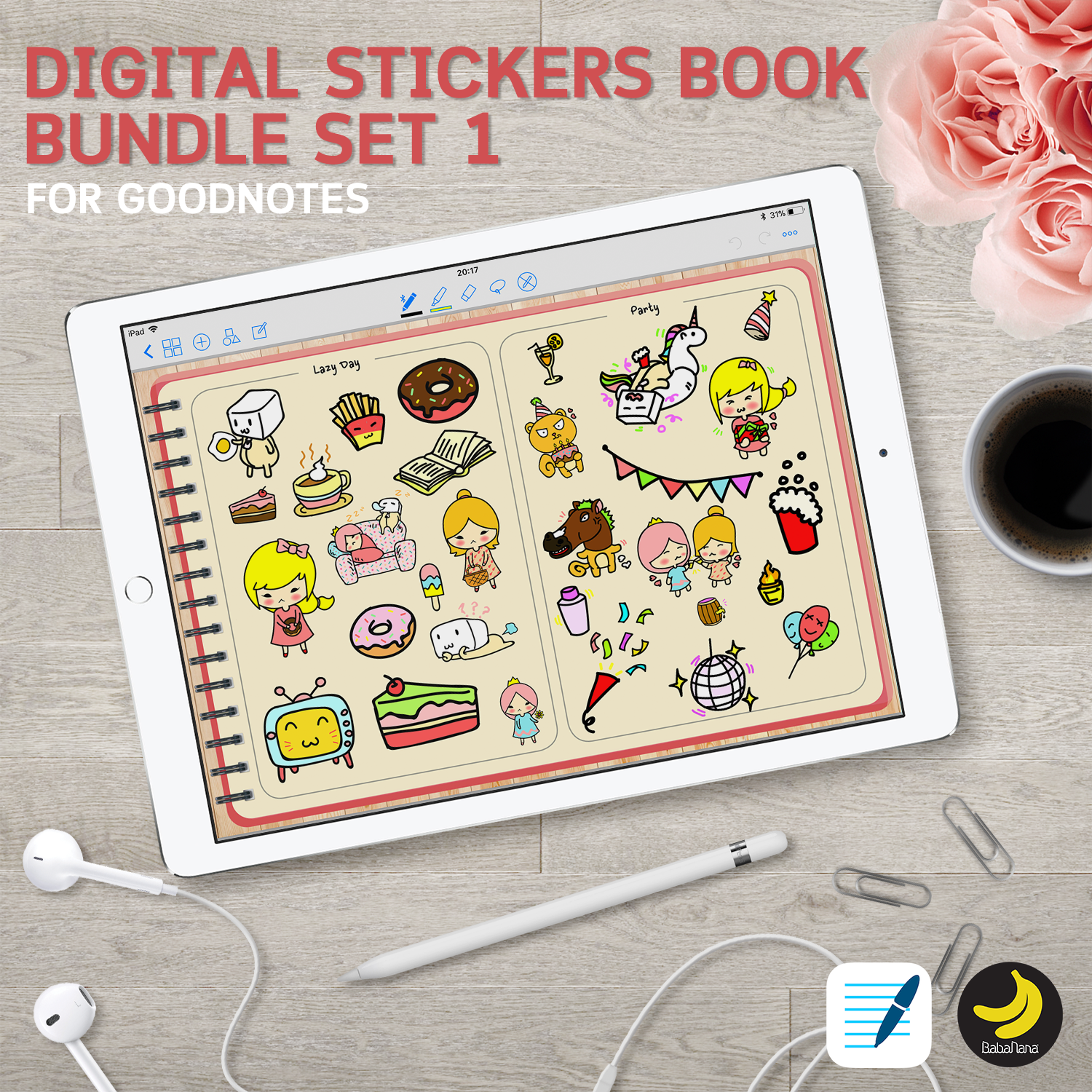 [Hot Value Deal] Stickers Book Bundle Set1 for iPad Planners Goodnotes