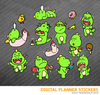 Kawaii dinosaur Tyrannosaurus rex Set 1 Digital Planner Stickers for iPad Planners Goodnotes