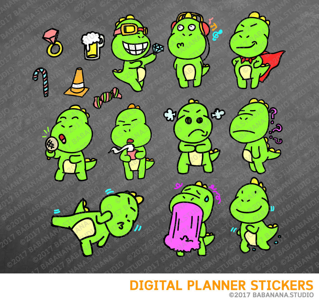 Kawaii dinosaur Tyrannosaurus rex Set 2 Digital Planner Stickers for iPad Planners Goodnotes
