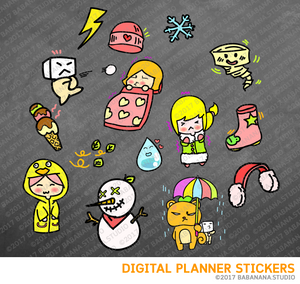 Weather and Seasonal Digital Planner Stickers for iPad Planners Goodnotes