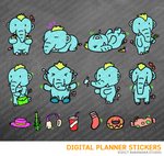 Kawaii elephant dinosaur set 1 Digital Planner Stickers for iPad Planners Goodnotes