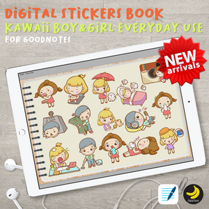 200+ Kawaii Boy & Girl Everyday use Stickers Book for iPad Planners Goodnotes