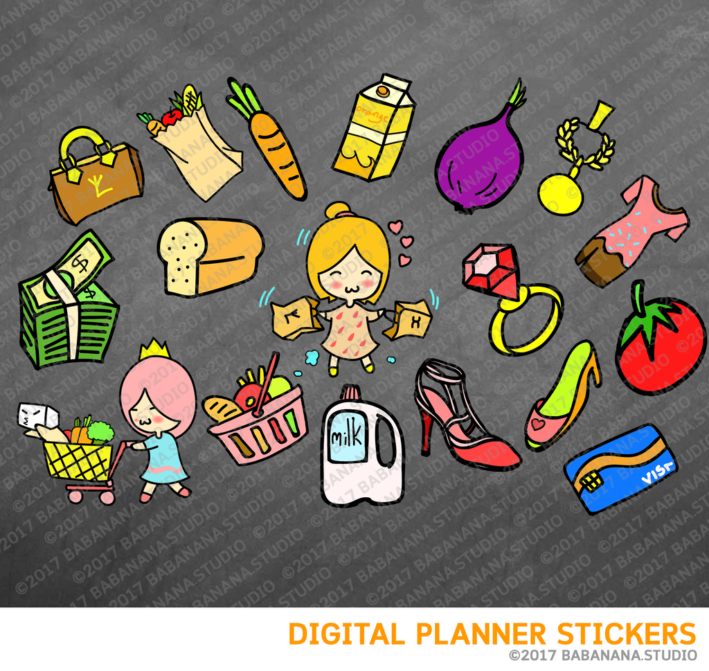 Shopping Digital Planner Stickers for iPad Planners Goodnotes
