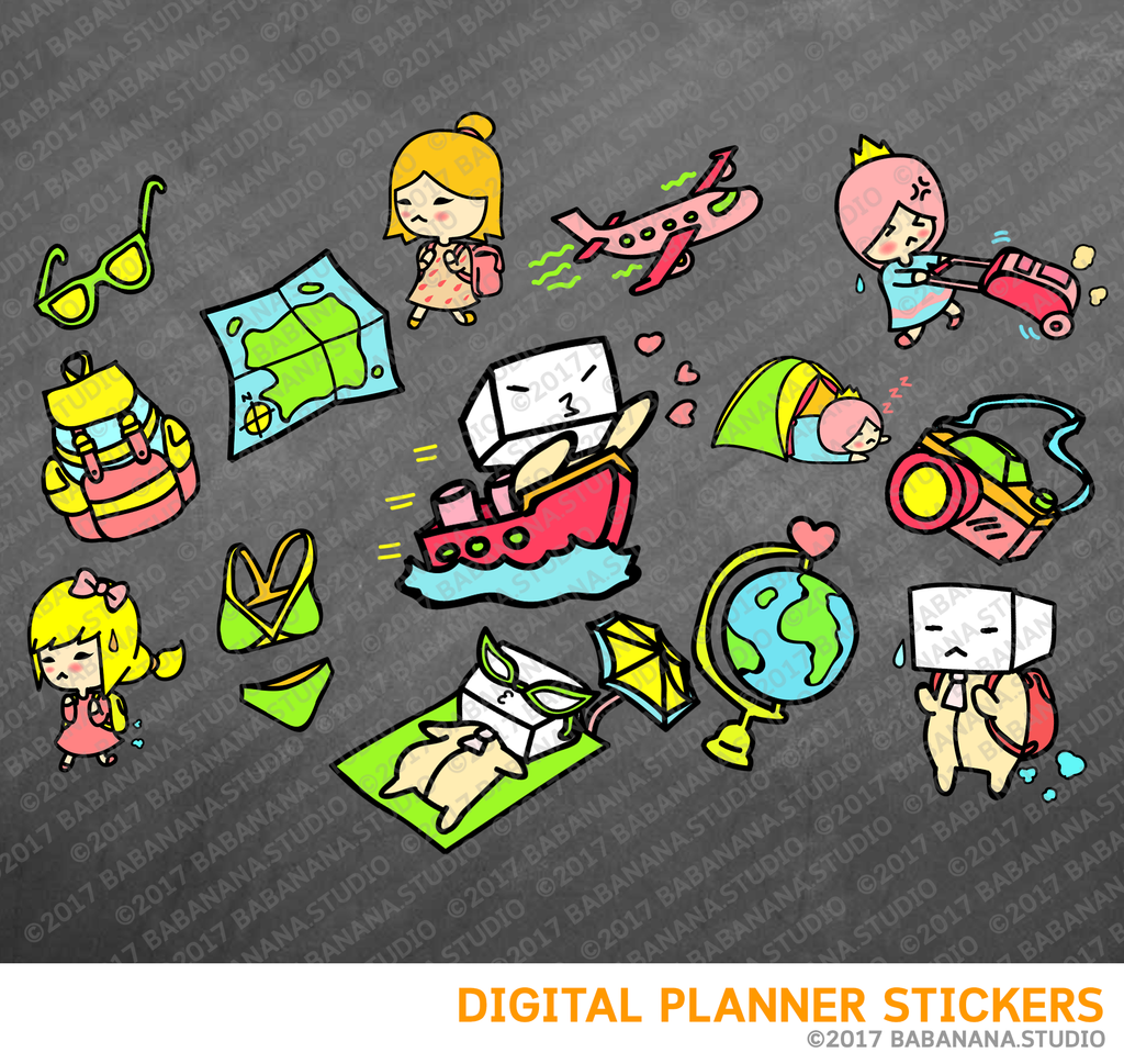 Travel Digital Planner Stickers for iPad Planners Goodnotes