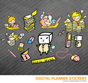 Working Digital Planner Stickers for iPad Planners Goodnotes