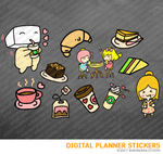 Coffee Time Digital Planner Stickers for iPad Planners Goodnotes