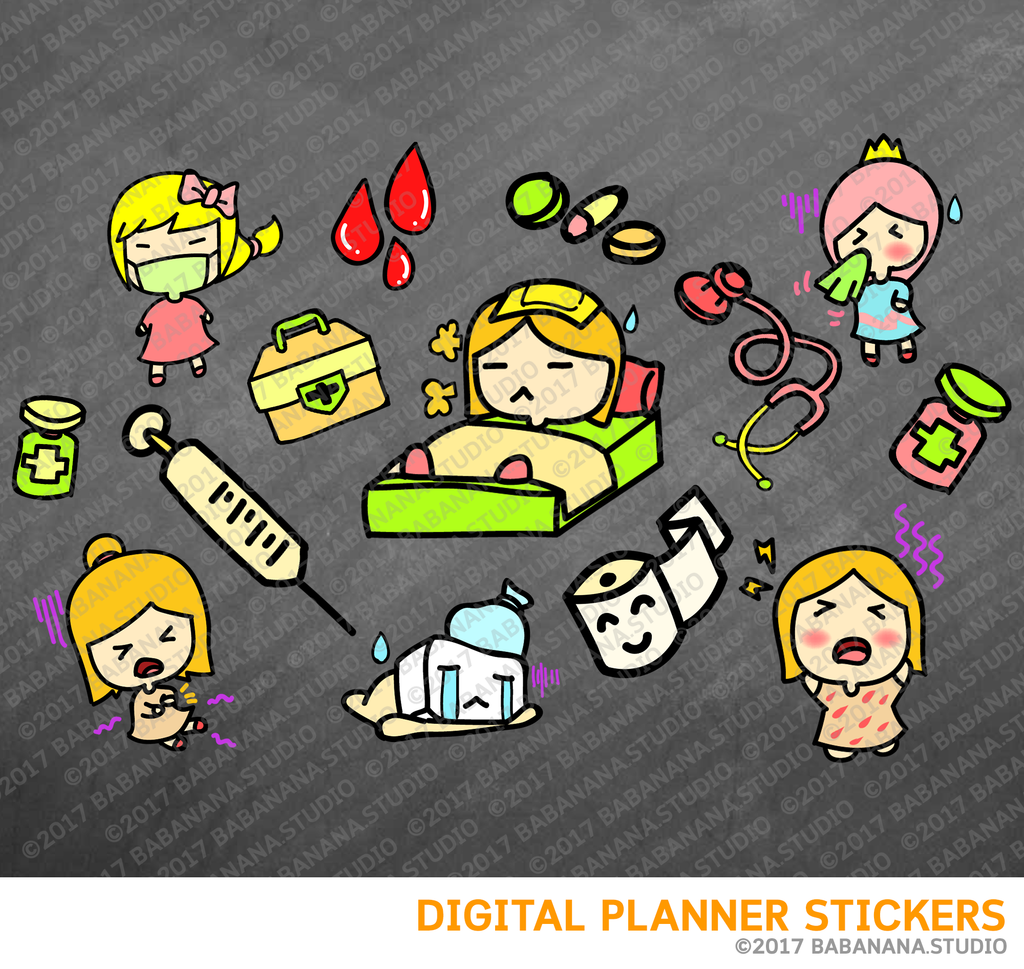 Sick Day Digital Planner Stickers for iPad Planners Goodnotes