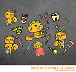 Kawaii Squirrel Sick Day Digital Planner Stickers for iPad Planners Goodnotes