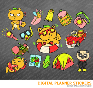 Kawaii Squirrel Travel Digital Planner Stickers for iPad Planners Goodnotes