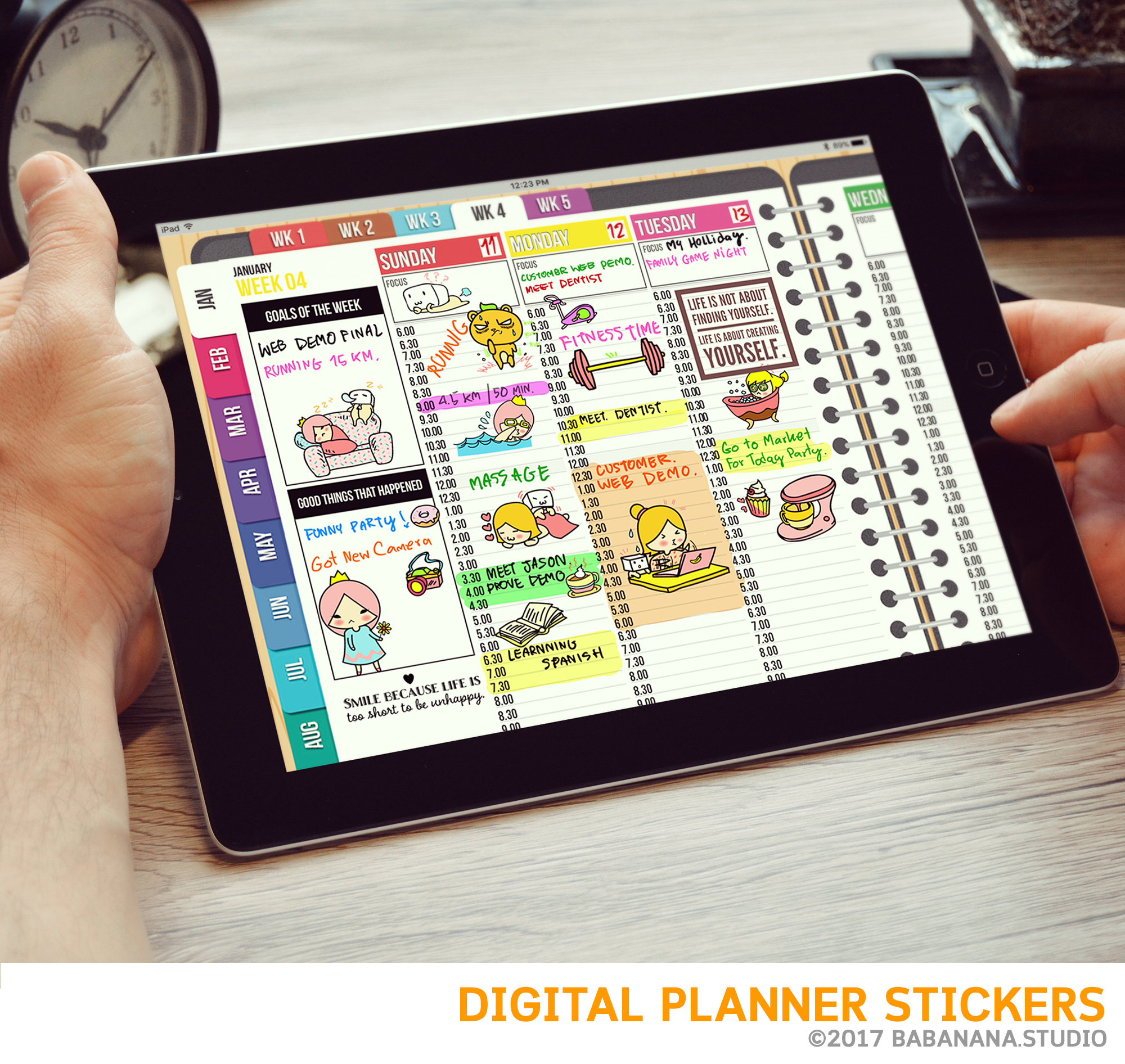 Kawaii Squirrel Shopping Digital Planner Stickers for iPad Planners Goodnotes