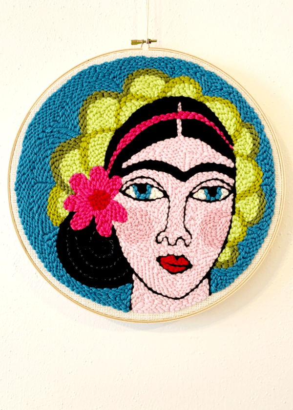 "Punch Needle Craft Kit & Live Workshop - Frida 12"" Hoop"