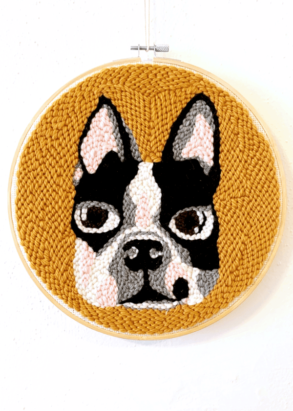 "Punch Needle Craft Kit & Live Workshop - George the Boston Terrier 10"" Hoop"