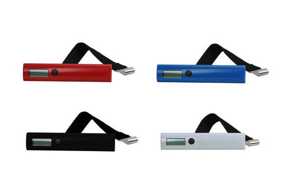 portable luggage scale available in 4 colours
