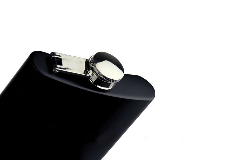 Beautiful Matt Stainless Steel Black Hip Flask - Motus Store