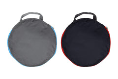 The Foldable Duffel- Folded in red and blue