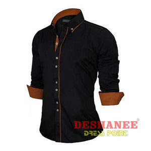(Shop International) 100% Cotton Slim Business Long Sleeve Shirt - Black / Us Europe Size S - Clothing Tops 2Xl 2Xl (Men) Autumn Black