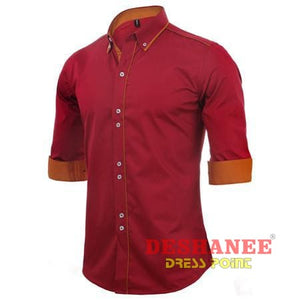 (Shop International) 100% Cotton Slim Business Long Sleeve Shirt - Red / Us Europe Size S - Clothing Tops 2Xl 2Xl (Men) Autumn Black