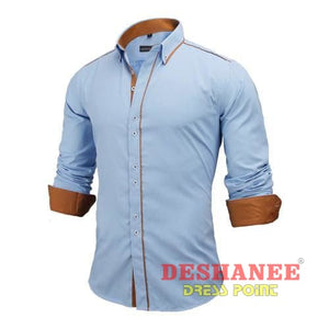 (Shop International) 100% Cotton Slim Business Long Sleeve Shirt - Sky Blue / Us Europe Size S - Clothing Tops 2Xl 2Xl (Men) Autumn Black
