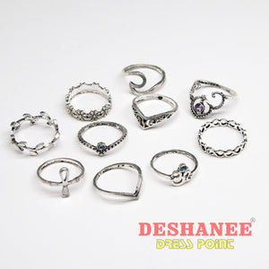 (Shop International) 10Pcs/set Women Silver Rings - Accessories Accessories Bohemian Style Fashion Fashion Jewelry Jewellery Free Shipping