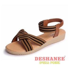 (Shop International) 15 Colors Flat Women Beach Sandals - 2611Brown / 6 - Shoes 05 05 (Shoes) 06 06 (Shoes) 07 Free Shipping Deshanee Dress