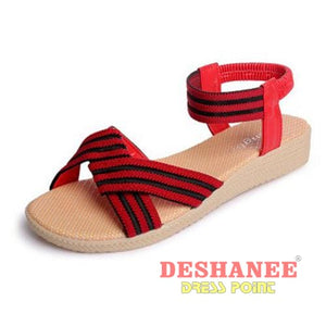 (Shop International) 15 Colors Flat Women Beach Sandals - 2611Red / 6 - Shoes 05 05 (Shoes) 06 06 (Shoes) 07 Free Shipping Deshanee Dress