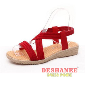 (Shop International) 15 Colors Flat Women Beach Sandals - Red / 6 - Shoes 05 05 (Shoes) 06 06 (Shoes) 07 Free Shipping Deshanee Dress Point