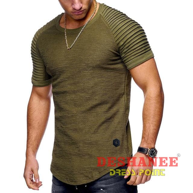 (Shop International) 2018 New Fashion Mens Striped Fold Slim Short-Sleeved T-Shirt - Army Green / L - Clothing Tops Army Green Black Casual