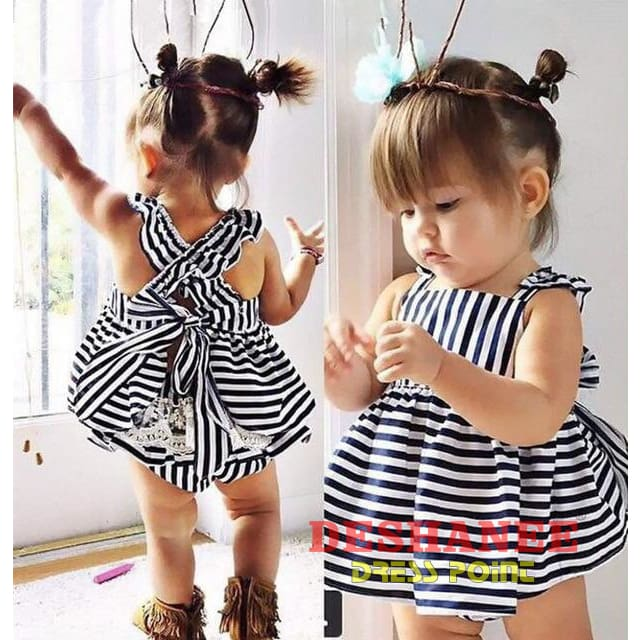 (Shop International) 2Pcs Stripe Backless Bow Cotton Briefs + Dress Set - Blue / 4-6 Months - Clothing Sets 01 Yrs 02 Yrs 1 1/2 Yrs 12M 18M