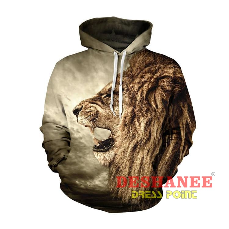 (Shop International) 3D Lion Sweatshirt Print Lion Head Hip Hop Streetwear - As Picture / L - Clothing Casual Hip-Hop Print Streetwear