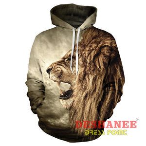 (Shop International) 3D Lion Sweatshirt Print Lion Head Hip Hop Streetwear - As Picture / Xxl - Clothing Casual Hip-Hop Print Streetwear
