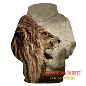 (Shop International) 3D Lion Sweatshirt Print Lion Head Hip Hop Streetwear - Clothing Casual Hip-Hop Print Streetwear Unisex Free Shipping