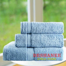 (Shop International) 3Pcs/lot 100% Cotton Towel Set - Blue / 3 Sizes - Towels Aquamarine Bath Towels Beige Cotton Face Towels Free Shipping