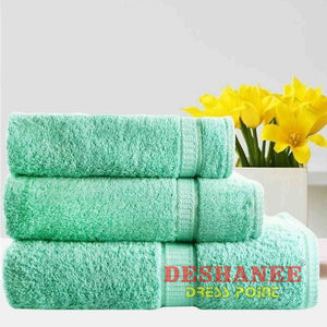 (Shop International) 3Pcs/lot 100% Cotton Towel Set - Green / 3 Sizes - Towels Aquamarine Bath Towels Beige Cotton Face Towels Free Shipping
