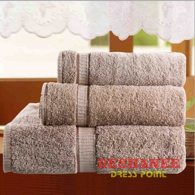(Shop International) 3Pcs/lot 100% Cotton Towel Set - Grey / 3 Sizes - Towels Aquamarine Bath Towels Beige Cotton Face Towels Free Shipping