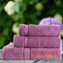 (Shop International) 3Pcs/lot 100% Cotton Towel Set - Purple / 3 Sizes - Towels Aquamarine Bath Towels Beige Cotton Face Towels Free