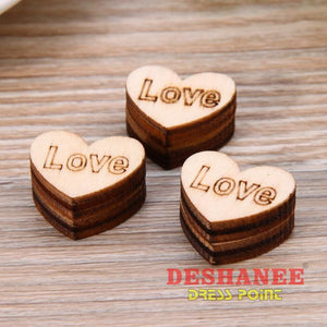 (Shop International) 50Pcs/lot Wood Love Heart Shape Table Decorations For Wedding Party - Homeware Birthday Party Chocolate Christmas