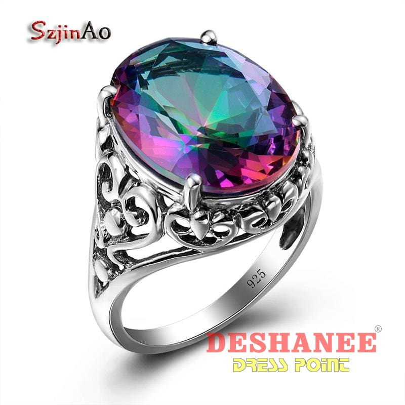 (Shop International) 925 Sterling Silver Jewelry Mystic Rainbow Zirconia Ring - Accessories Gift Jewelry Party Sterling Silver Valentine Day