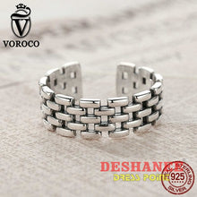 (Shop International) 925 Sterling Silver Watch Chain Patterns Finger Adjustable Band Ring - Accessories Adjustable Engagement Fashion