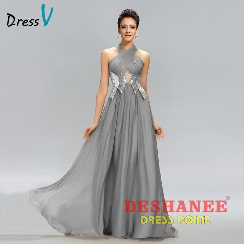 (Shop International) A-Line Pleats Sequined Formal Party Evening Dress - Clothing A-Line Darkgray Evening Evening Dress Evening Dresses Free
