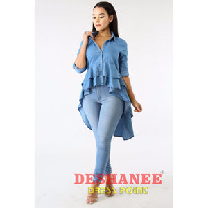 (Shop International) Asymmetrical Double Ruffles Denim Long Top - Clothing Tops Blouse Tops Blouses Blue Casual Cornflowerblue Free Shipping