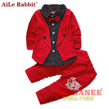 (Shop International) Baby Boys Button Letter Bow Jacket + Pant 2-Piece Suit - Clothing Sets 05 2T 3T 4T Autumn Free Shipping Deshanee Dress