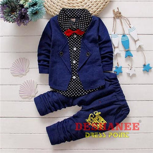 (Shop International) Baby Boys Button Letter Bow Jacket + Pant 2-Piece Suit - Blue / 2T - Clothing Sets 05 2T 3T 4T Autumn Free Shipping