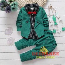 (Shop International) Baby Boys Button Letter Bow Jacket + Pant 2-Piece Suit - Green / 2T - Clothing Sets 05 2T 3T 4T Autumn Free Shipping
