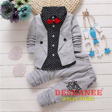 (Shop International) Baby Boys Button Letter Bow Jacket + Pant 2-Piece Suit - Grey / 2T - Clothing Sets 05 2T 3T 4T Autumn Free Shipping
