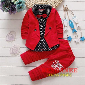 (Shop International) Baby Boys Button Letter Bow Jacket + Pant 2-Piece Suit - Red / 2T - Clothing Sets 05 2T 3T 4T Autumn Free Shipping