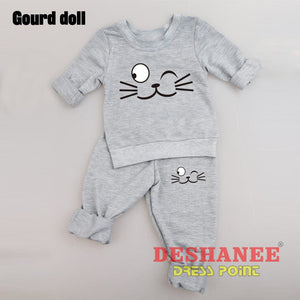 (Shop International) Baby Boys Girls Long Sleeve T-Shirt+Pant Suit - Clothing Sets 01 Yrs 02 Yrs 12M 18M 24M Free Shipping Deshanee Dress