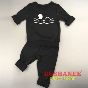(Shop International) Baby Boys Girls Long Sleeve T-Shirt+Pant Suit - Black Cat 2 / 3M - Clothing Sets 01 Yrs 02 Yrs 12M 18M 24M Free