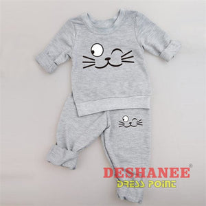 (Shop International) Baby Boys Girls Long Sleeve T-Shirt+Pant Suit - Gray Cat 1 / 3M - Clothing Sets 01 Yrs 02 Yrs 12M 18M 24M Free Shipping